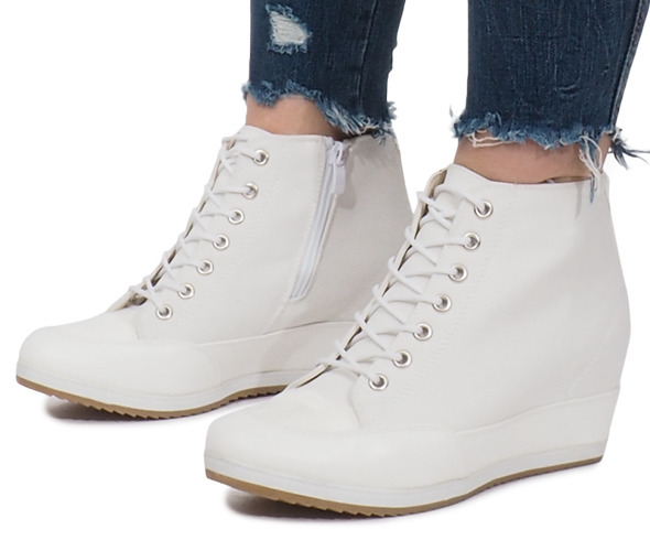 fdd0f388bfb0af Białe Sneakersy Na Koturnie Capucine Material Biały - Obuwie damskie ...