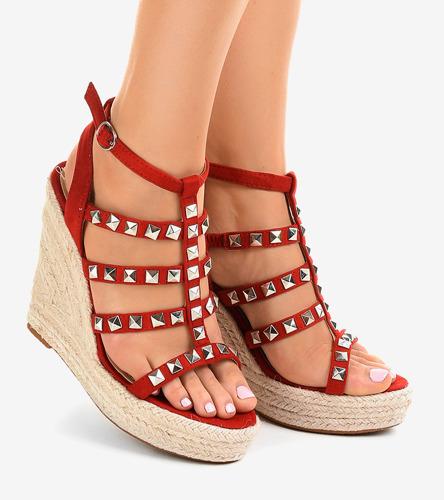 df87198dca0b51 Czerwone sandały na koturnie słomiane 9529 - Obuwie damskie ...